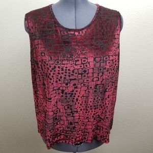 TanJay Black and Red Velvet Semi Sheer Tank 3X